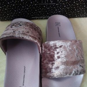 I.N.C. Metallic Velour Slide Slippers in Lavender
